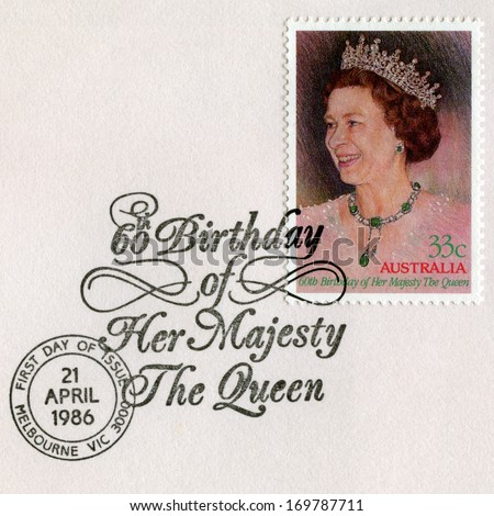 AUSTRALIA - CIRCA 1986: An Australian Postage Stamp and Postmark celebrating the 60th Birthday of Her Majesty Queen Elizabeth II, circa 1986. - stock photo