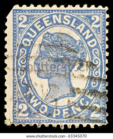 AUSTRALIA - CIRCA 1897: An Australian Used Postage Stamp  from Queensland showing Queen Victoria, circa 1897 - stock photo