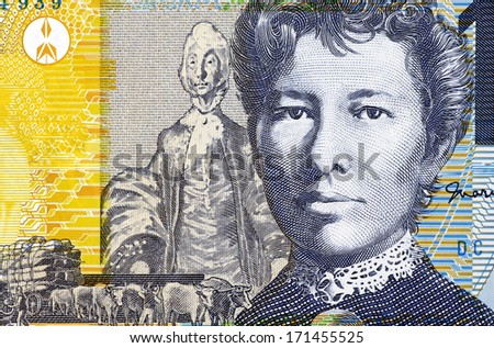 AUSTRALIA - CIRCA 2007: Mary Gilmore (1865-1962) on 10 Dollars 2007 Banknote from Australia. Australian socialist poet and journalist. - stock photo