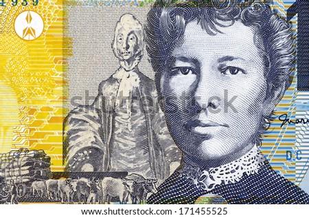 AUSTRALIA - CIRCA 2007: Mary Gilmore (1865-1962) on 10 Dollars 2007 Banknote from Australia. Australian socialist poet and journalist. - stock photo