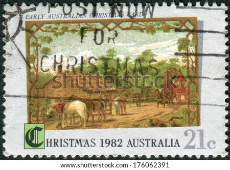 AUSTRALIA - CIRCA 1982: Postage stamp printed in Australia, Christmas Issue, shows Early Australian Christmas card, circa 1982