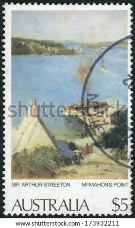 "AUSTRALIA - CIRCA 1979: Postage stamp printed in Australia, shows a picture of ""McMahon's Point"" by Sir Arthur Streeton, circa 1979"
