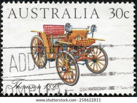 AUSTRALIA - CIRCA 1984: Postage stamp printed in Australia, shows Australian-made vintage cars: Thomson, 1898, circa 1984 - stock photo