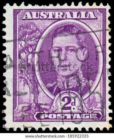 AUSTRALIA - CIRCA 1944: Postage stamp printed in Australia shows King of the United Kingdom and the British Dominions, and Emperor of India, George VI, circa 1944 - stock photo