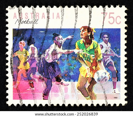 AUSTRALIA - CIRCA 1991: Postage stamp printed in Australia with image of a female netball players. - stock photo
