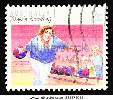 AUSTRALIA - CIRCA 1990: Postage stamp printed in Australia with image of a female tenpin-bowling sportswoman.  - stock photo