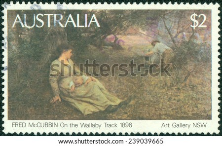 AUSTRALIA - CIRCA 1981: Postage stamp printed in Australia with image of a 1896 painting, On the Wallaby Track, by Fred McCubbin from the Art Gallery of South Australia. - stock photo