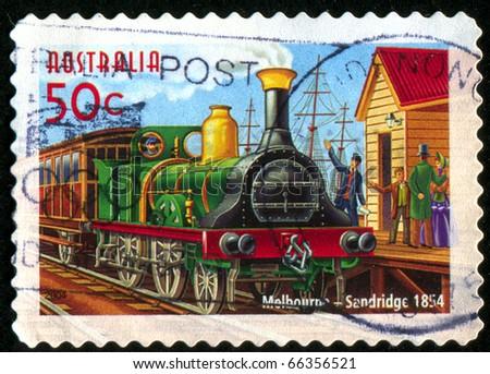 AUSTRALIA - CIRCA 2004: stamp printed by Australia, shows Australian Railways, circa 2004 - stock photo