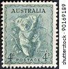 AUSTRALIA - CIRCA 1937: stamp printed by Australia, shows koala, circa 1937 - stock photo