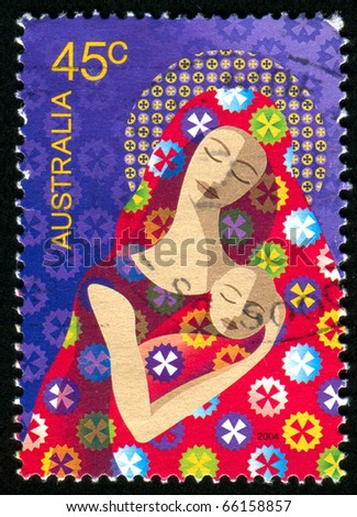 AUSTRALIA - CIRCA 2004: stamp printed by Australia, shows Madonna and Child, circa 2004 - stock photo