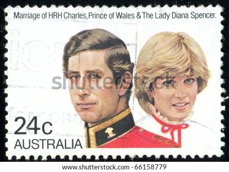AUSTRALIA - CIRCA 1981: stamp printed by Australia, shows Prince Charles and Lady Diana, circa 1981 - stock photo
