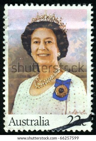 AUSTRALIA - CIRCA 1980: stamp printed by Australia, shows Queen Elizabeth II, circa 1980 - stock photo
