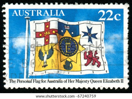 AUSTRALIA - CIRCA 1981: stamp printed by Australia, shows Queen Elizabeth?s Personal Flag of Australia, circa 1981