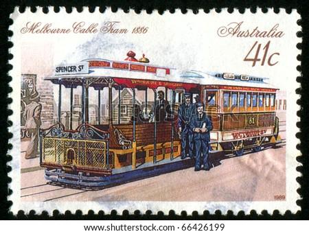AUSTRALIA - CIRCA 1989: stamp printed by Australia, shows tram and people, circa 1989 - stock photo