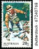 AUSTRALIA - CIRCA 1979: stamp printed by Australia, shows Trout Fishing, circa 1979 - stock photo