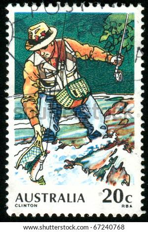 AUSTRALIA - CIRCA 1979: stamp printed by Australia, shows Trout Fishing, circa 1979 - stock photo