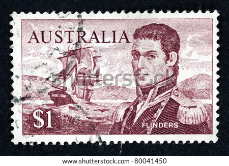 AUSTRALIA - CIRCA 1966: Stamp printed in Australia showing the portrait of Captain Matthew Flinders and HMS Investigator, circa 1966. Captain Flinders is the first man to circumnavigate Australia. - stock photo