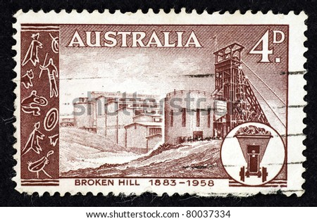 AUSTRALIA - CIRCA 1958: Stamp printed in Australia showing the silver & lead mine at Broken Hill in New South Wales, Australia, circa 1958.