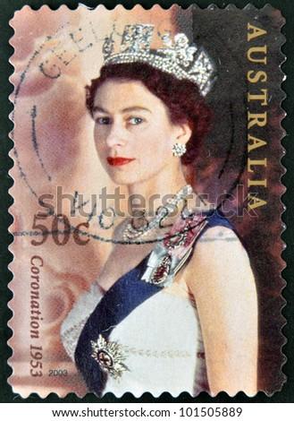 AUSTRALIA - CIRCA 2003: stamp printed in Australia, shows Queen Elizabeth II, circa 2003 - stock photo