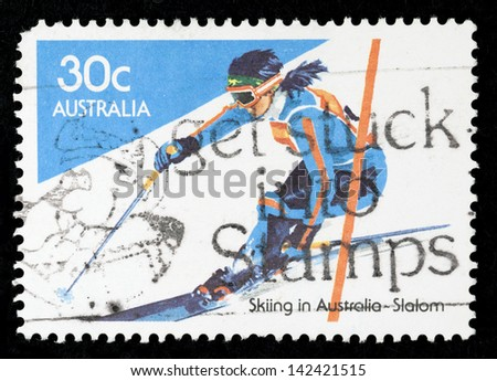 AUSTRALIA - CIRCA 1984: stamp printed in Australia shows slalom; series Skiing in Australia,  circa 1984