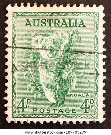 AUSTRALIA - CIRCA 1937  to 1943:A Cancelled postage stamp from Australia illustrating a koala, issued between 1937 and 1943