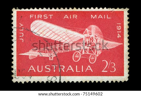 AUSTRALIA - CIRCA 1964. Vintage postage stamp with Bleriot monoplane illustration printed to commemorate the 50th anniversary of the first air mail flight in Australia, circa 1964.