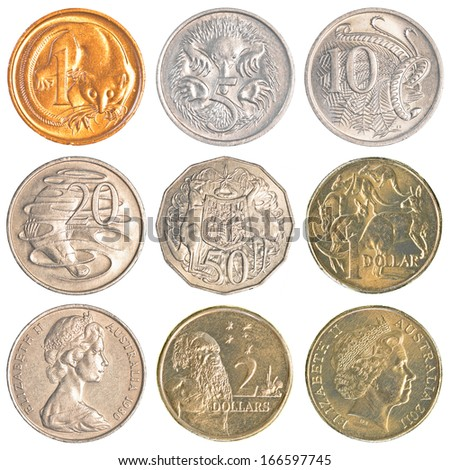 Australia circulating coins isolated on white background - stock photo