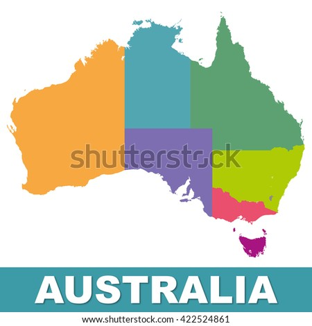 Australia color map with regions. Illustration - stock photo