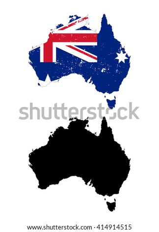 Australia country black silhouette and with flag on background, isolated on white - stock photo