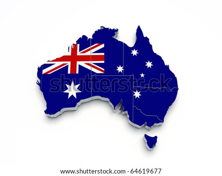 Australia 3D flag map on white isolated - stock photo
