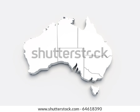 Australia 3D white map on gray isolated - stock photo
