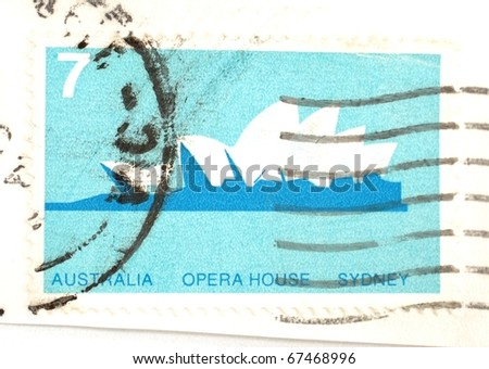 AUSTRALIA - DATE UNKNOWN: a 7 cent stamp printed in Australia shows iamge of the iconic Sydney Opera House, circa unknown - stock photo