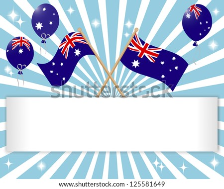 Australia Day. Festive banner with flags and balloons. Raster version. - stock photo