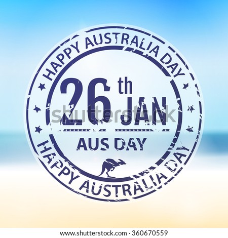 Australia day stamp in raster. Grange blue emblem for australia holiday on blur background