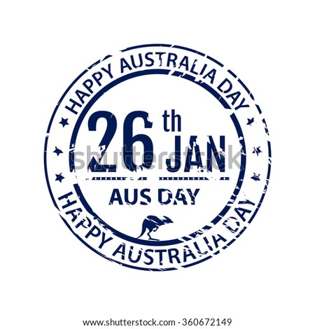 Australia day stamp in raster. Grange blue emblem for australia holiday on white background. Isolated illustration