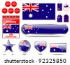 Australia day website icons. (flag, calendar icon, web buttons, sticker sale, tag, label) Raster version. - stock vector