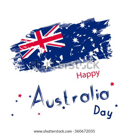 Australia day with grange flag on white background. Clean holiday design in raster. Simple holiday text for australia day - stock photo