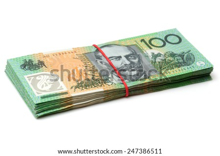 Australia Dollar, Bank note of Australia on white background - stock photo