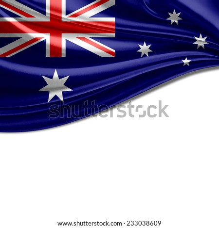 Australia flag and white background - stock photo