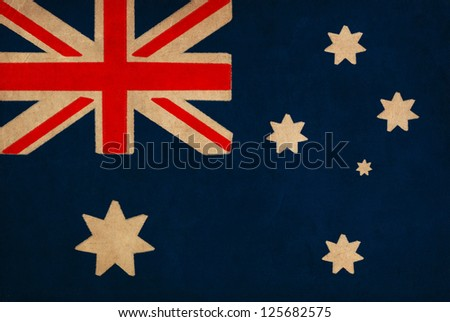 Australia flag drawing ,grunge and retro flag series - stock photo