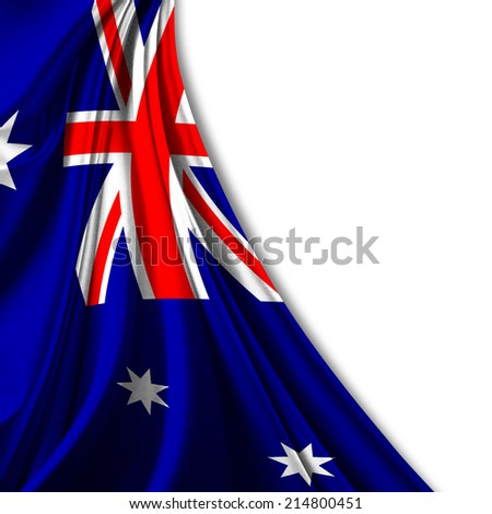 Australia flag fabric and white background