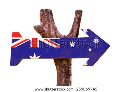 Australia Flag isolated on white background - stock photo