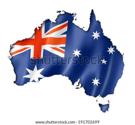 Australia flag map, three dimensional render, isolated on white - stock photo