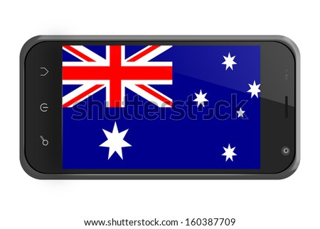 Australia flag on smartphone screen isolated on white - stock photo