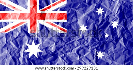 Australia flag painted on crumpled paper background. - stock photo