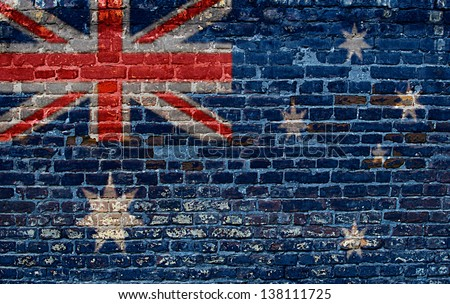Australia flag painted on old brick wall background - stock photo