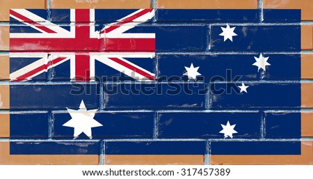 Australia flag painted on old brick wall texture background - stock photo