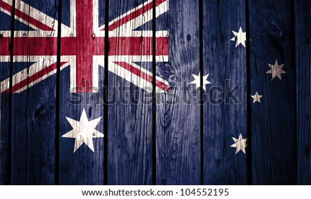 Australia flag painted on wood background