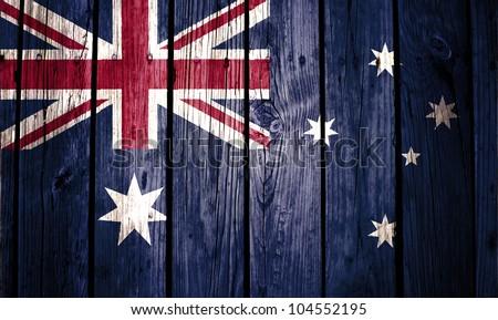 Australia flag painted on wood background - stock photo