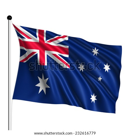 Australia flag with fabric structure on white background - stock photo